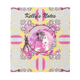 Retro Pink Haired Girl With Lollipop & Flowers Notepad