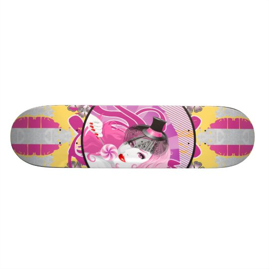 Retro Pink Haired Girl With Lollipop & Flowers Skateboard