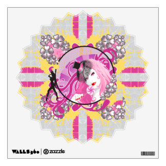 Retro Pink Haired Girl With Lollipop & Flowers Wall Sticker