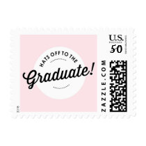 Retro Pink Hats Off to the Graduate Stamp