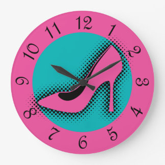 Retro Pink High Heel Large Clock