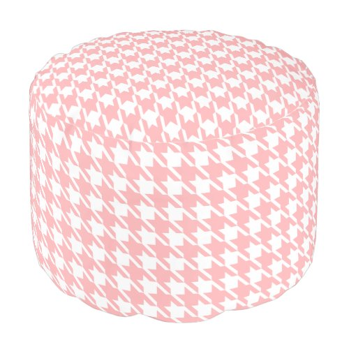 Retro Pink Houndstooth Pillow Pouf Ottoman Seat