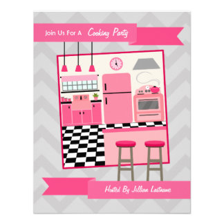 Retro Pink Kitchen Cooking Party Invite