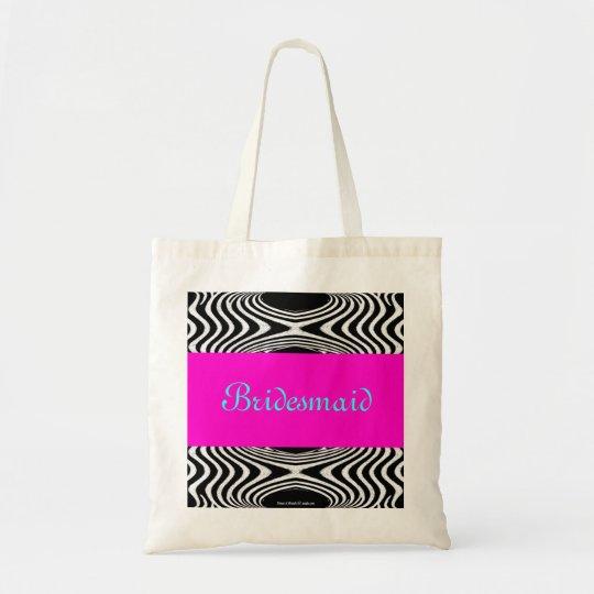 Retro Pink Maid of Honor Zigzag Wedding Girly 2013 Tote Bag
