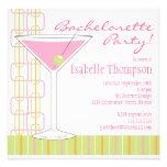 Retro Pink Martini Bachelorette Party Invitation