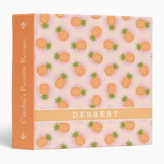 Retro pink orange pineapple patterns monogram 3 ring binder