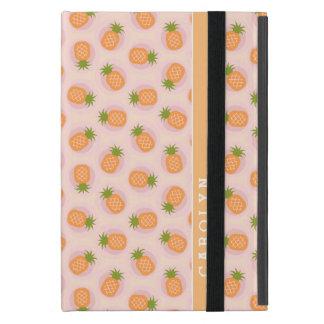 Retro pink orange pineapple patterns monogram iPad mini case
