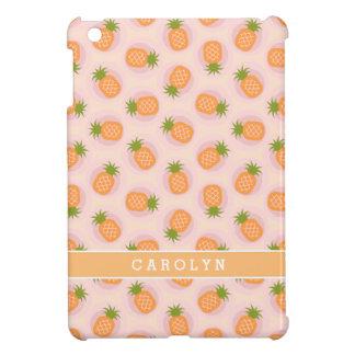 Retro pink orange pineapple patterns monogram iPad mini cases