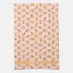 Retro pink orange pineapple patterns monogram kitchen towel