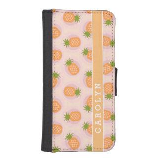 Retro pink orange pineapple patterns monogram wallet phone case for iPhone SE/5/5s