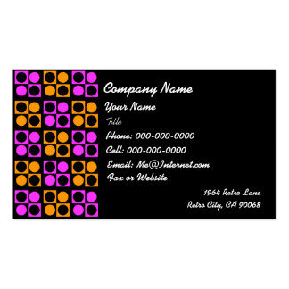 Retro Pink Orange Squares Circles on Black Busines Business Card Templates
