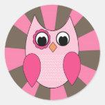 Retro Pink Owl Sticker