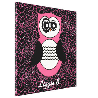 Retro Pink Owl with Animal Print and Name