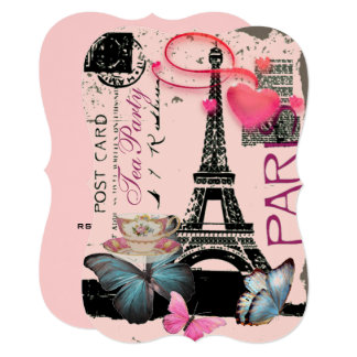 Retro pink Paris eiffel tower bridal tea party Card
