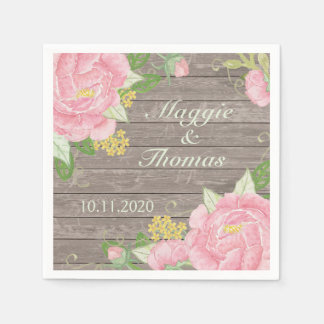 Retro pink peony on wood Wedding Napkins