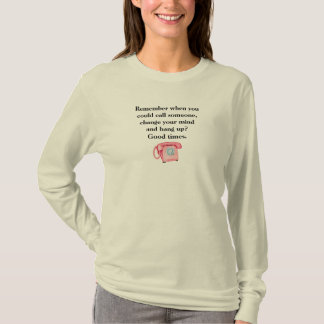 Retro Pink Phone Old Days Good Times Funny Tee Shirt