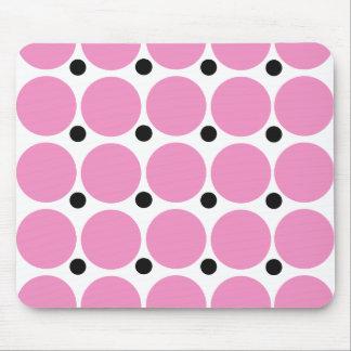 Retro Pink Polka Dot Abstract Art Mouse Pad