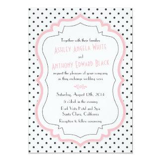 "Retro Pink Polka Dots 1950s Wedding Invitation 5"" X 7"" Invitation Card"