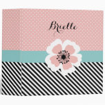 Retro Pink Polka Dots and Stripes Flower With Name 3 Ring Binder