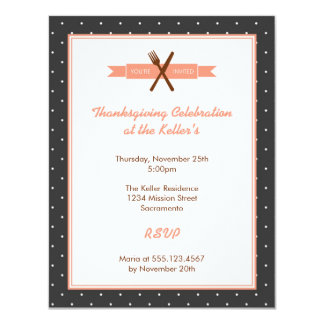 Retro pink polka dots frame hostess dinner party personalized invitations