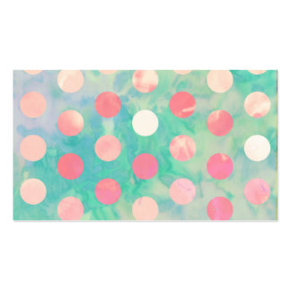 Retro Pink Polka Dots Hipster Turquoise Pattern Double-Sided Standard Business Cards (Pack Of 100)