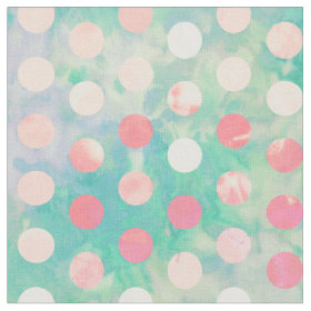 Retro Pink Polka Dots Hipster Turquoise Pattern Fabric