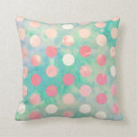 Retro Pink Polka Dots Hipster Turquoise Pattern Throw Pillow