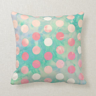 Retro Pink Polka Dots Hipster Turquoise Pattern Pillow