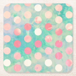 Retro Pink Polka Dots Hipster Turquoise Pattern Square Paper Coaster