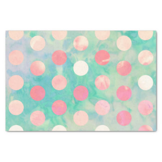 Retro Pink Polka Dots Hipster Turquoise Pattern Tissue Paper
