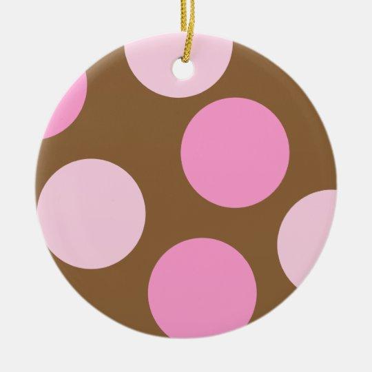 Retro Pink Polka Dots Ornament