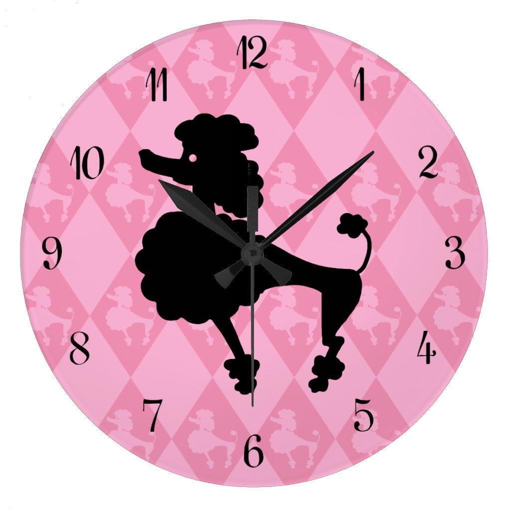 Retro Pink Poodle Clock