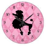 Retro Pink Poodle Clocks