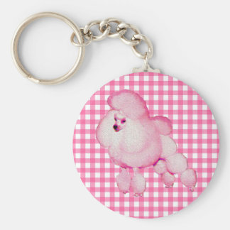 Retro Pink Poodle Gingham Keychain