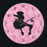 """Retro Pink Poodle Large Clock<br><div class=""""desc"""">This fun,  retro clock features an outline of a poodle in a black and pink color scheme.</div>"""