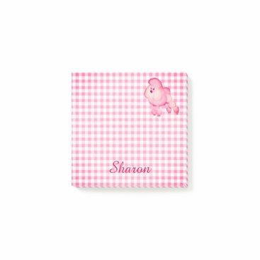 USA Themed Retro Pink Poodle Personalized Post-it Notes