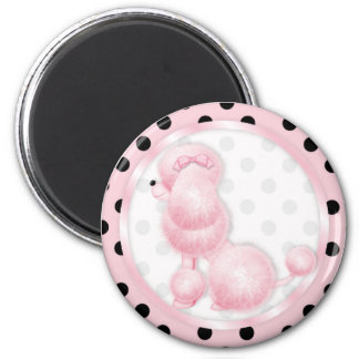Retro pink poodle Polka Dots 2 Inch Round Magnet