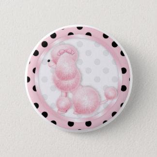 Retro pink poodle Polka Dots Pinback Button