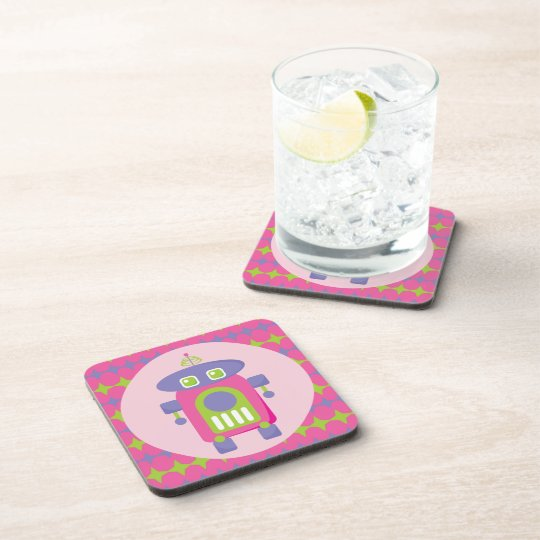 Retro Pink, Purple and Green Robot with Stars Coaster