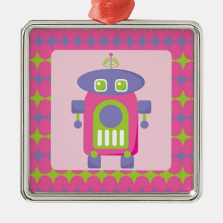 Retro Pink, Purple and Green Robot with Stars Christmas Tree Ornaments