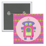 Retro Pink, Purple and Green Robot with Stars Pin