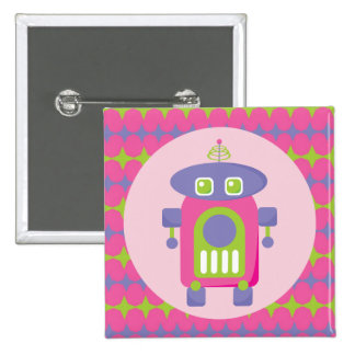 Retro Pink, Purple and Green Robot with Stars Pinback Button