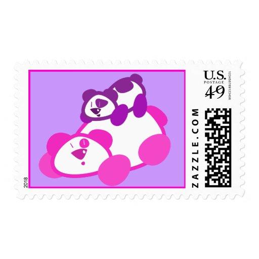 Retro Pink & Purple Panda Parent & Cub Postage