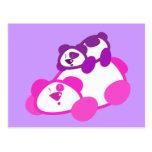 Retro Pink & Purple Panda Parent & Cub Postcard
