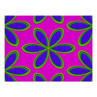 Retro Pink Purple Psychedelic Flowers Poster