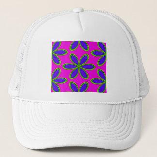 Retro Pink Purple Psychedelic Flowers Trucker Hat