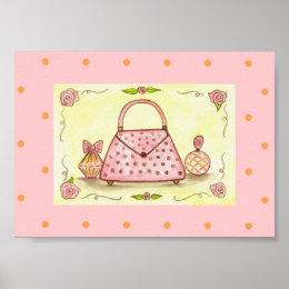 Retro Pink Purse Perfume Boutique Wall Art Print