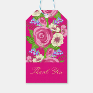 Retro Pink Roses White Blossoms Thank You Gift Tags