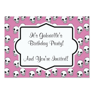 Retro Pink Skull Custom Birthday Party Invitation