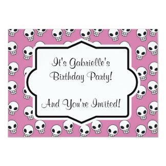 "Retro Pink Skull Custom Birthday Party Invitation 4.5"" X 6.25"" Invitation Card"